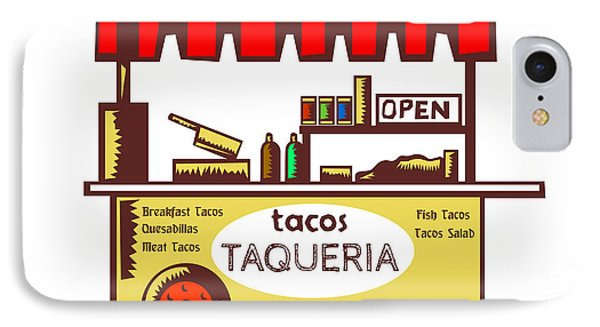 Taco Stand Taqueria Stand Woodcut IPhone Case