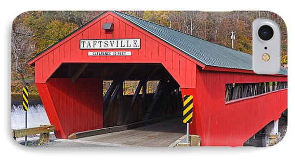 Taftsville Vermont Red Covered Bridge Autumn Waterfall IPhone Case by Toby McGuire