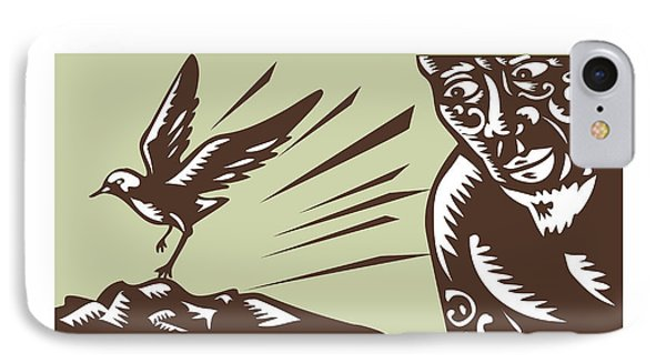 Tagaloa Looking At Plover Bird Woodcut IPhone Case