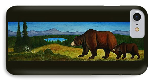 Taggart Lake Bears Phone Case by Lucy Deane