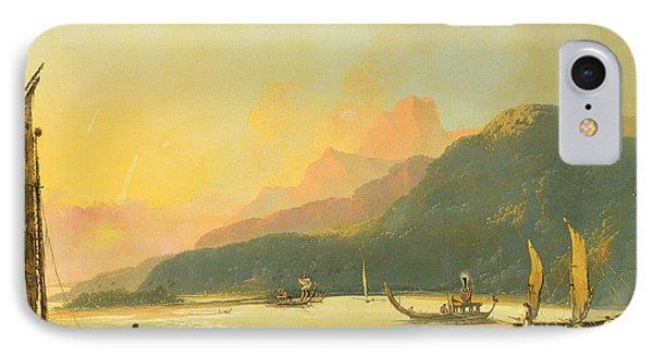 Tahitian War Galleys In Matavai Bay - Tahiti IPhone Case by William Hodges