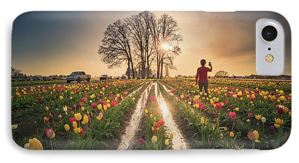 IPhone Case featuring the photograph Taking Sunset Pictures Using A Mobile Phone by William Lee