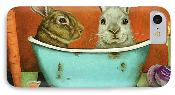 Tale Of Two Bunnies IPhone Case by Leah Saulnier The Painting Maniac