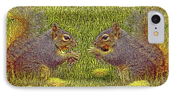Tale Of Two Squirrels IPhone Case by Joel Bruce Wallach