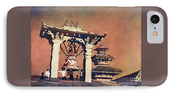 IPhone Case featuring the painting Taleju Bell- Patan, Nepal by Ryan Fox
