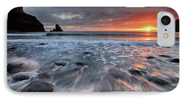 IPhone Case featuring the photograph Talisker Bay Rocky Sunset by Grant Glendinning