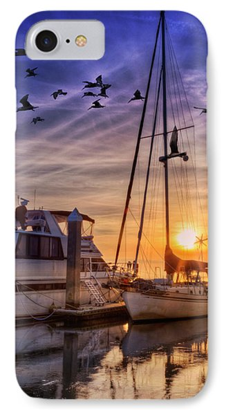 Tall Mast At Sunset IPhone Case by Debra and Dave Vanderlaan