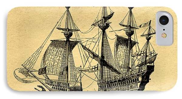 Tall Ship Vintage IPhone Case by Edward Fielding