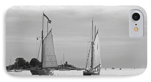Tall Ships Sailing I In Black And White Phone Case by Suzanne Gaff