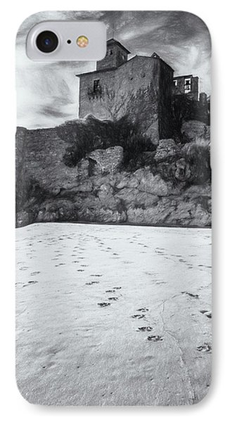 Tamarit Castle Approach Bw Sketch IPhone Case by Joan Carroll