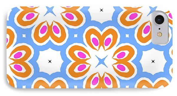 Tangerine And Sky Floral Pattern- Art By Linda Woods IPhone Case by Linda Woods