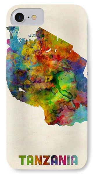 Tanzania Watercolor Map IPhone Case