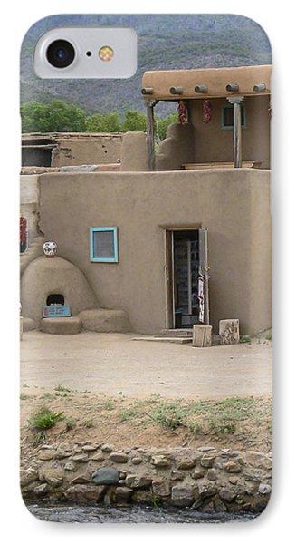 Taos Pueblo Adobe House With Pots IPhone Case by Allen Sheffield