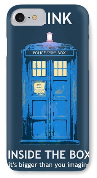 Tardis - Think Inside The Box IPhone Case by Richard Reeve