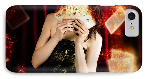 Tarot Magician Holding Magic Fire Cards Of Fate IPhone Case by Jorgo Photography - Wall Art Gallery