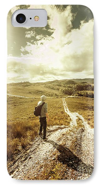 Tasmanian Man On Road In Nature Reserve IPhone Case by Jorgo Photography - Wall Art Gallery