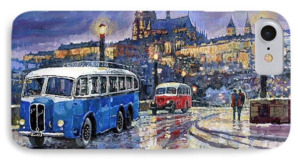 Tatra 85-91bus 1938 Praha Rnd Bus 1950 Prague Manesuv Bridge IPhone Case by Yuriy Shevchuk