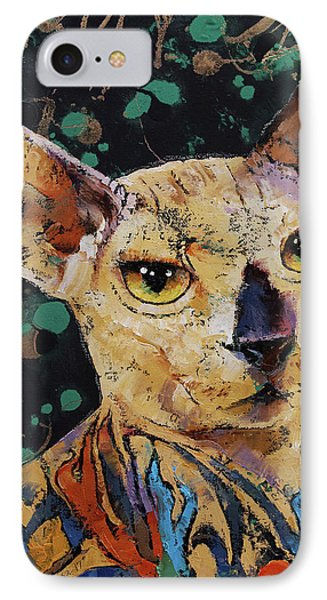 Tattooed Sphynx IPhone Case by Michael Creese