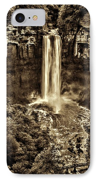 Taughannock Falls - Sepia IPhone Case by Stephen Stookey