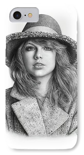 Taylor Swift Portrait Drawing IPhone 7 Case by Shierly Lin