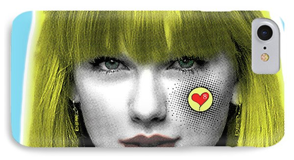 Taylor Swift, Pop Art, Portrait, Contemporary Art On Canvas, Famous Celebrities IPhone Case by Dr Eight Love