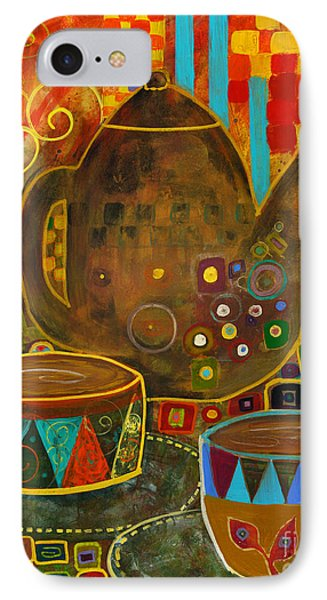 Tea Party With Klimt Phone Case by Robin Maria Pedrero