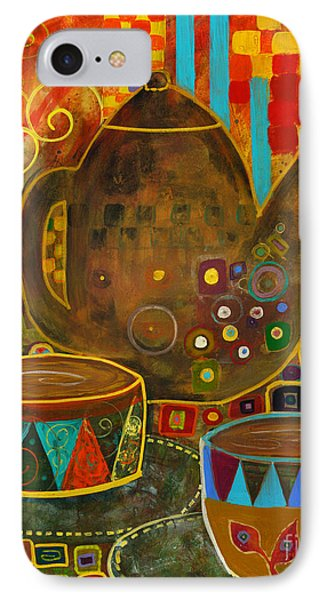 Tea Party With Klimt IPhone Case by Robin Maria Pedrero