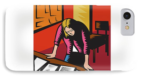 Teacher Depressed Table Classroom Woodcut IPhone Case by Aloysius Patrimonio