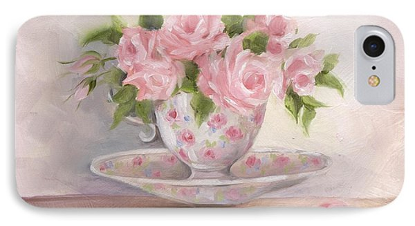 IPhone Case featuring the painting Teacup And Saucer Rose Shabby Chic Painting by Chris Hobel