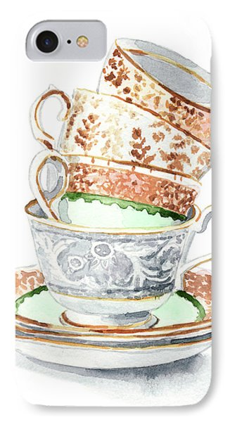 Teacups Collection Antique Watercolor Painting - Mismatched Green Gold Tea Party Alice In Wonderland IPhone Case by Laura Row