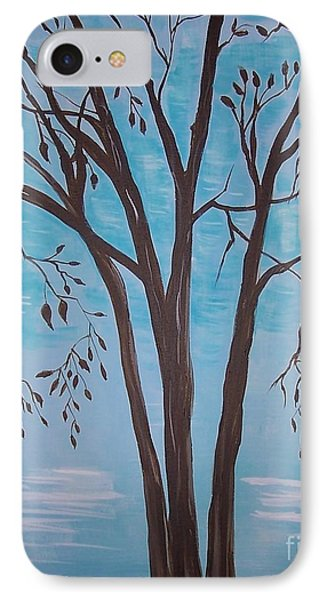 IPhone Case featuring the painting Teal And Brown by Leslie Allen