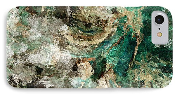 IPhone Case featuring the painting Teal And Cream Abstract Painting by Ayse Deniz