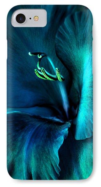 Teal Gladiola Flower Phone Case by Jennie Marie Schell
