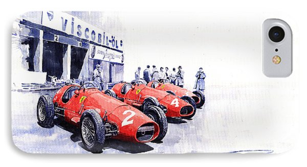 1953 Team Ferrari 500 F2 German Gp IPhone Case by Yuriy  Shevchuk