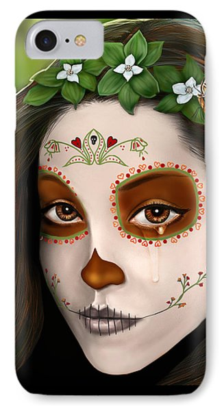 Teary Eyed Day Of The Dead Sugar Skull  IPhone Case by Maggie Terlecki