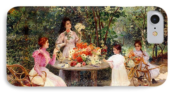 Teatime In The Garden IPhone Case by Edouard Frederic Wilhelm Richter
