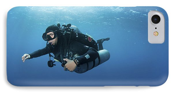Technical Diver With Equipment Swimming Phone Case by Karen Doody