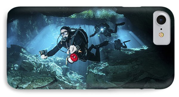 Technical Divers Enter The Cavern Phone Case by Karen Doody