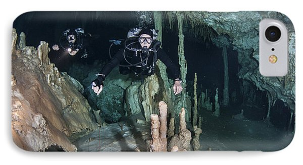 Technical Divers In Dreamgate Cave Phone Case by Karen Doody