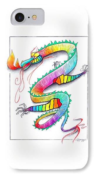 Technicolor Dragon -- Rainbow-colored Whimsical Dragon  Phone Case by Jayne Somogy