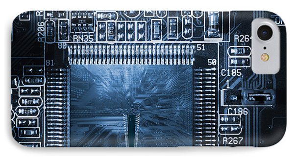 IPhone Case featuring the photograph Technology Concept, Giant Microchips by Christian Lagereek