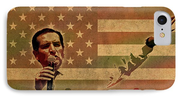 Ted Cruz For President Imagine Speech 2016 Usa Watercolor Portrait On Distressed American Flag IPhone Case by Design Turnpike