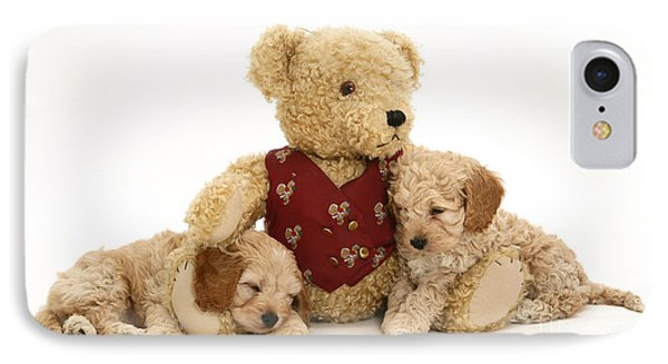Teddy Bear With Puppies Phone Case by Jane Burton