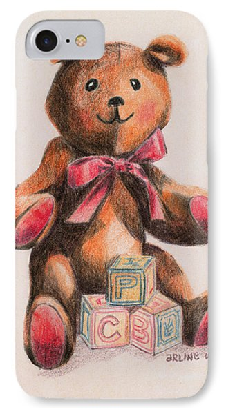 Teddy With Blocks Phone Case by Arline Wagner