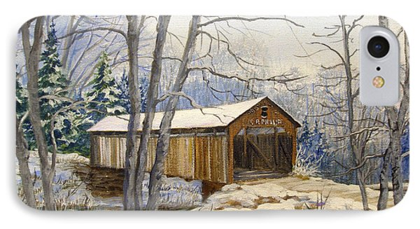 Teegarden Covered Bridge In Winter Phone Case by Lois Mountz
