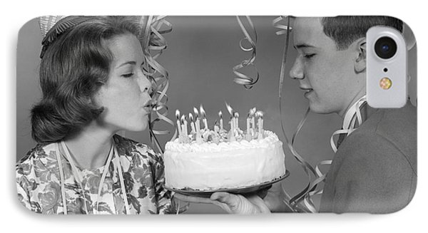 Teen Girl Blowing Out Birthday Candles IPhone Case by H. Armstrong Roberts/ClassicStock