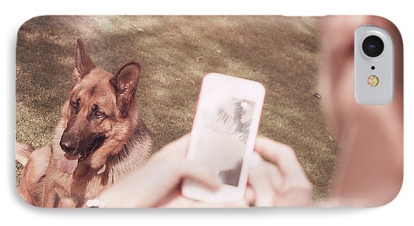 Teen Girl Taking Photo Of Dog With Smartphone IPhone Case by Jorgo Photography - Wall Art Gallery
