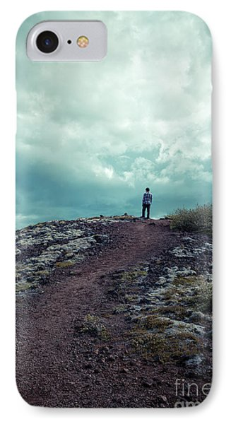 IPhone Case featuring the photograph Teenager On A Hiking Trail In Iceland by Edward Fielding