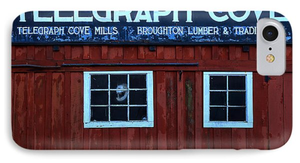 Telegraph Cove Wooden Sign IPhone Case by Adam Jewell