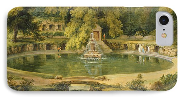 Temple Fountain And Cave In Sezincote Park IPhone Case by Thomas Daniell
